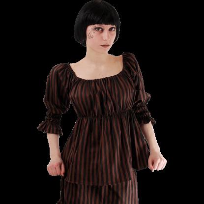 Steampunk Striped Peasant Top
