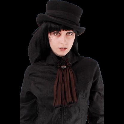 Steampunk Crinkle Chiffon Button Collar