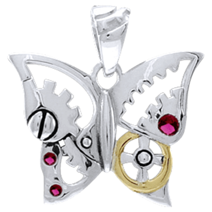 Steampunk Butterfly Gem Pendant
