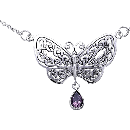 Silver Celtic Butterfly Necklace with Stone