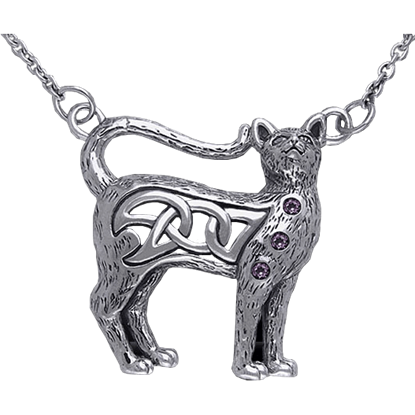Celtic Cat Necklace with Knotwork