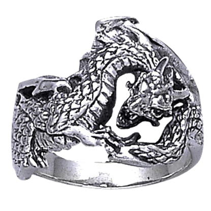 Fantasy Silver Dragon Ring