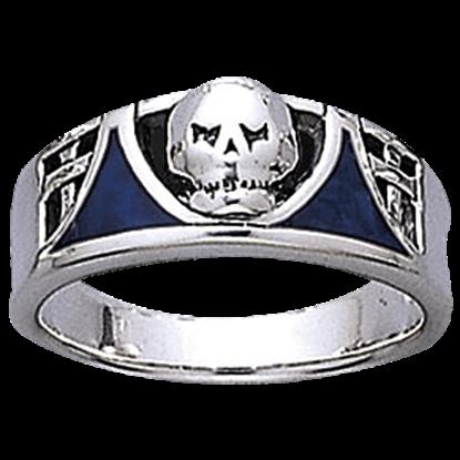 Inlaid Silver Skull Ring