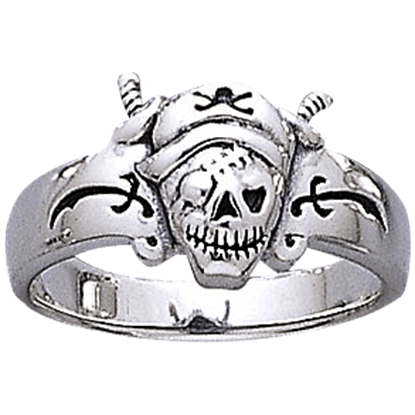 Silver Pirate Skull Ring