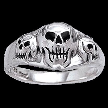 Triple Skull Silver Ring