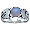 Silver Moon Goddess Ring with Gemstone