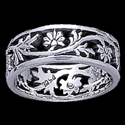 Silver Open Filigree Flower Ring