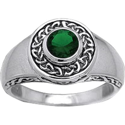Celtic Circle Silver Ring with Stone
