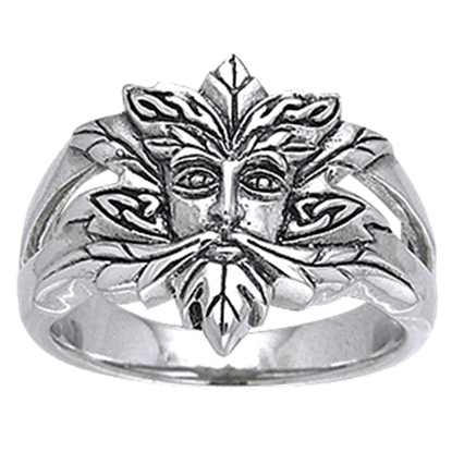Green Man Silver Ring