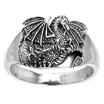 Fantasy Dragon Silver Ring
