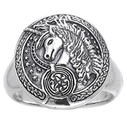 Engraved Celtic Unicorn Silver Ring