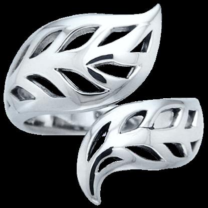 Shimmering Silver Leaf Ring