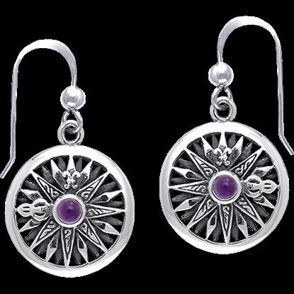 White Bronze Compass Rose Gem Earrings