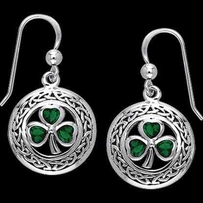 White Bronze Shamrock Gem Dangle Earrings