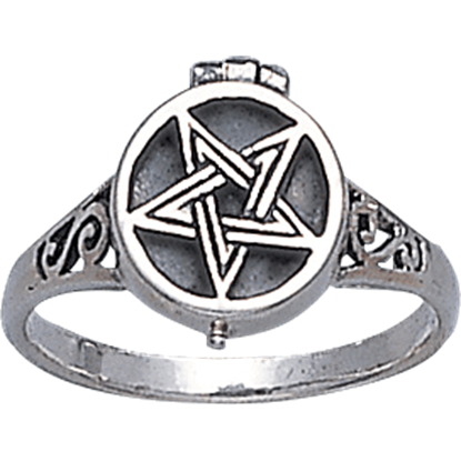 White Bronze Pentacle Poison Ring
