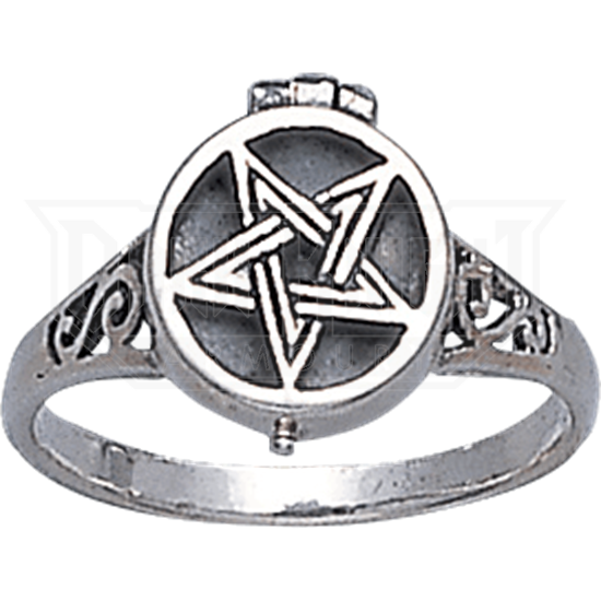 White Bronze Pentacle Poison Ring