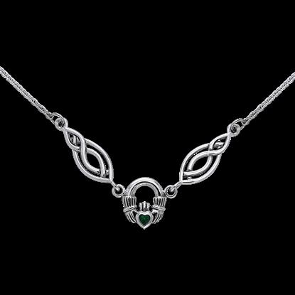 Gemstone Claddagh Knotwork Necklace