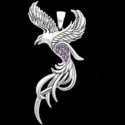White Bronze Flying Phoenix Pendant