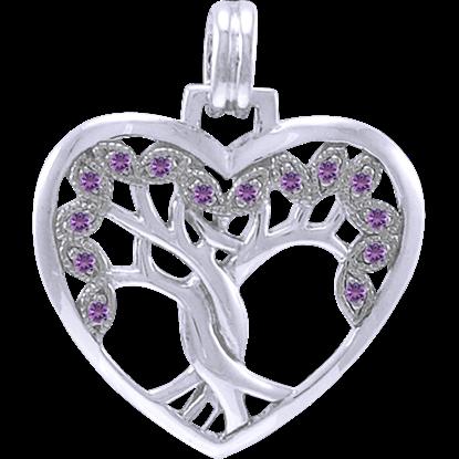 White Bronze Gemstone Tree of Life Heart Pendant