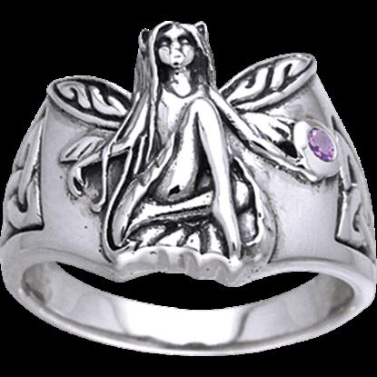 White Bronze Celtic Fairy Gemstone Ring