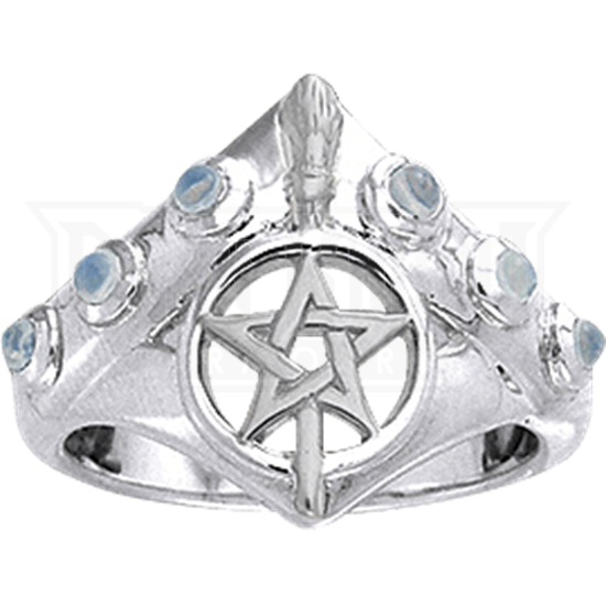 White Bronze Pointed Broomstick Pentacle Ring