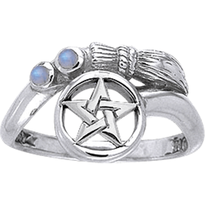 White Bronze Curved Broomstick Pentacle Ring