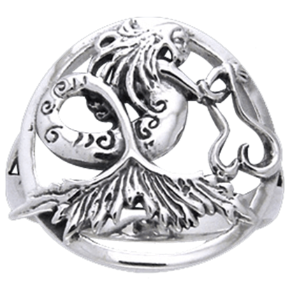 White Bronze Dark Waters Mermaid Ring