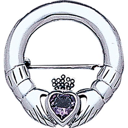 White Bronze Gemstone Claddagh Brooch