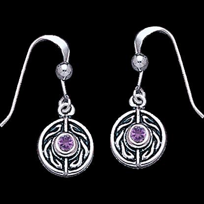 White Bronze Round Celtic Gem Earrings