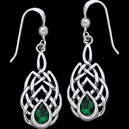 Celtic Endless Knot Teardrop Gem Earrings