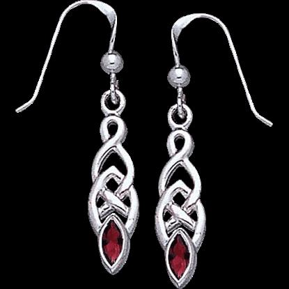 White Bronze Knotwork Gem Earrings