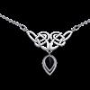 White Bronze Celtic Knotwork Drop Stone Necklace