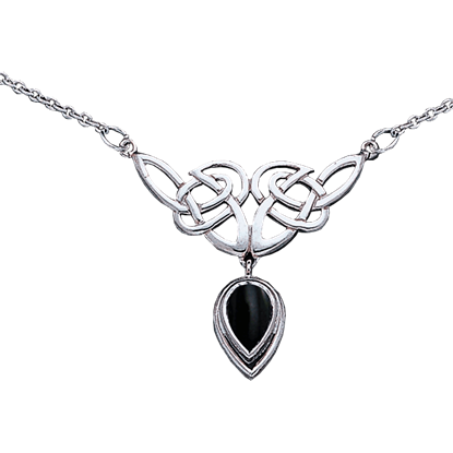 White Bronze Celtic Knotwork Drop Stone Necklace