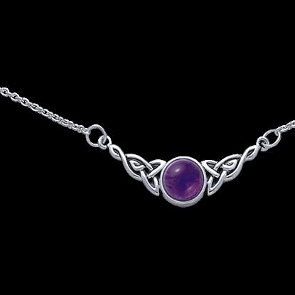 Round Stone White Bronze Celtic Knot Necklace