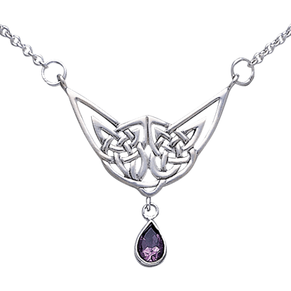 Celtic Eternity Knot Teardrop Gem Necklace