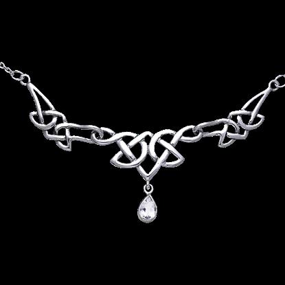 Eternal Knot Teardrop Gem Necklace