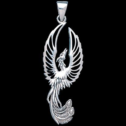 White Bronze Phoenix Rising Pendant
