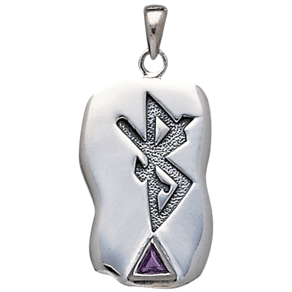 White Bronze Runic Gemstone Pendant