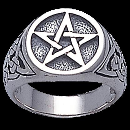 White Bronze Celtic Pentacle Ring