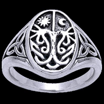 White Bronze Celestial Tree of Life Ring