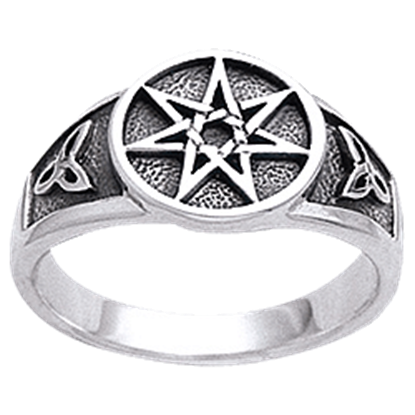 White Bronze Triquetra Seven Star Ring