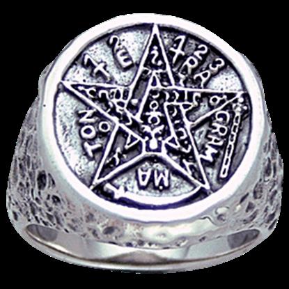 White Bronze Seal of Solomon Ring