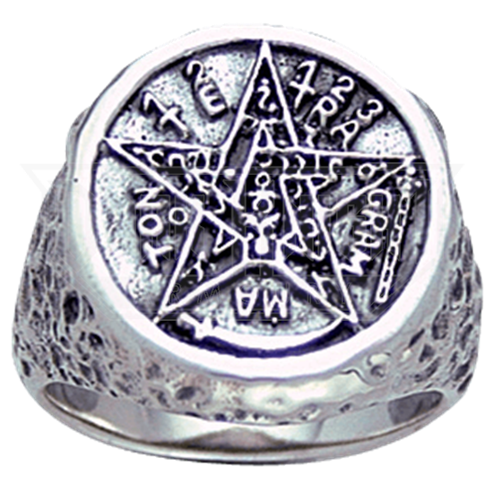 White Bronze Seal of Solomon Ring