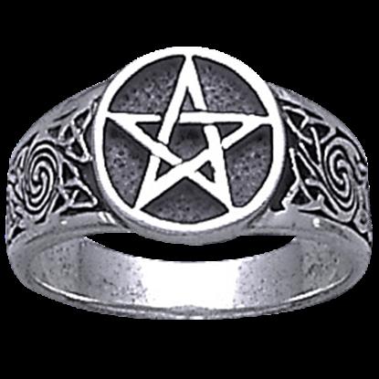 White Bronze Celtic Knot Pentacle Ring