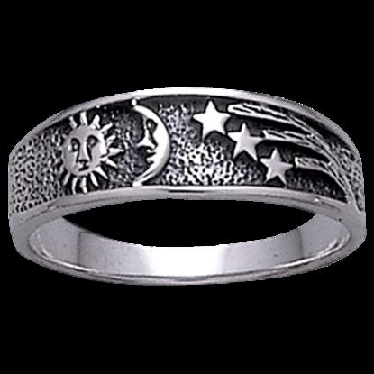 White Bronze Shooting Star Celestial Ring