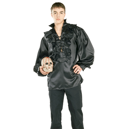 Black Satin Pirate Costume Shirt