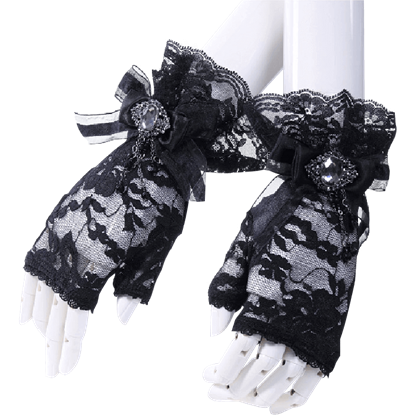 Gothic Crystal Bow Fingerless Gloves