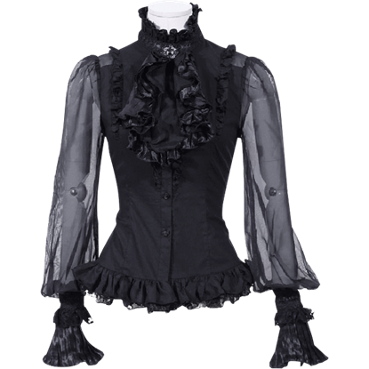 Gothic Long Sleeve Ruffled Jabot Shirt