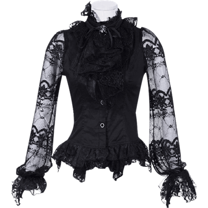 Gothic Lace Sleeve Jabot Shirt