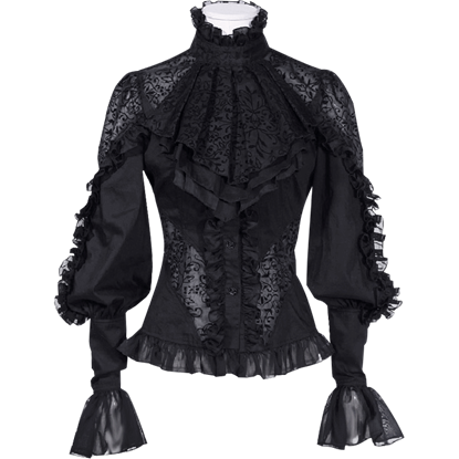 Gothic Black Ruffled Jabot Shirt